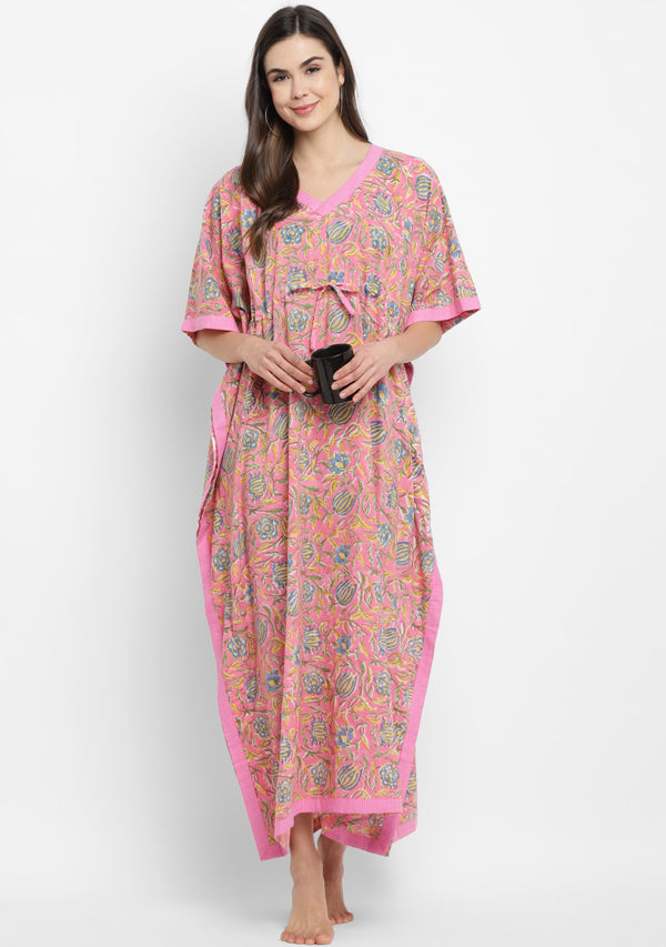 French Rose Pink Hand Block Floral Printed Tie-Up Waist Cotton Kaftan