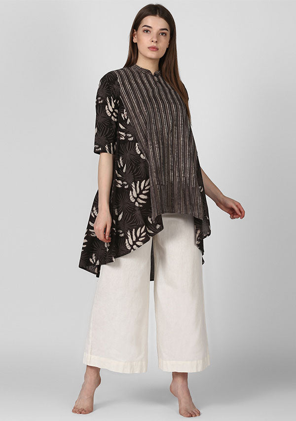 Beige Brown Hand Block Printed Asymmetric Cotton Tunic