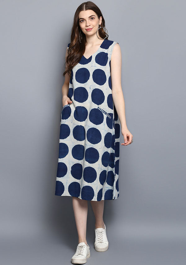 Indigo Ivory Polka Dot Hand Block Printed Cotton Dress
