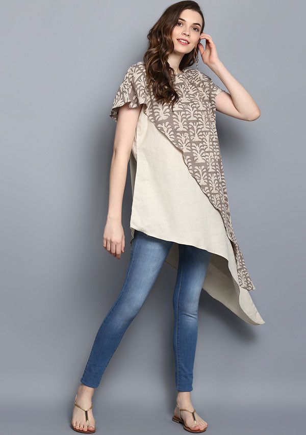 Beige Brown  Hand Block Print Layered Cotton Tunic