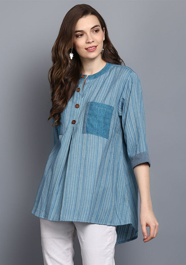 Turquoise Short Cotton Tunic With Pleats