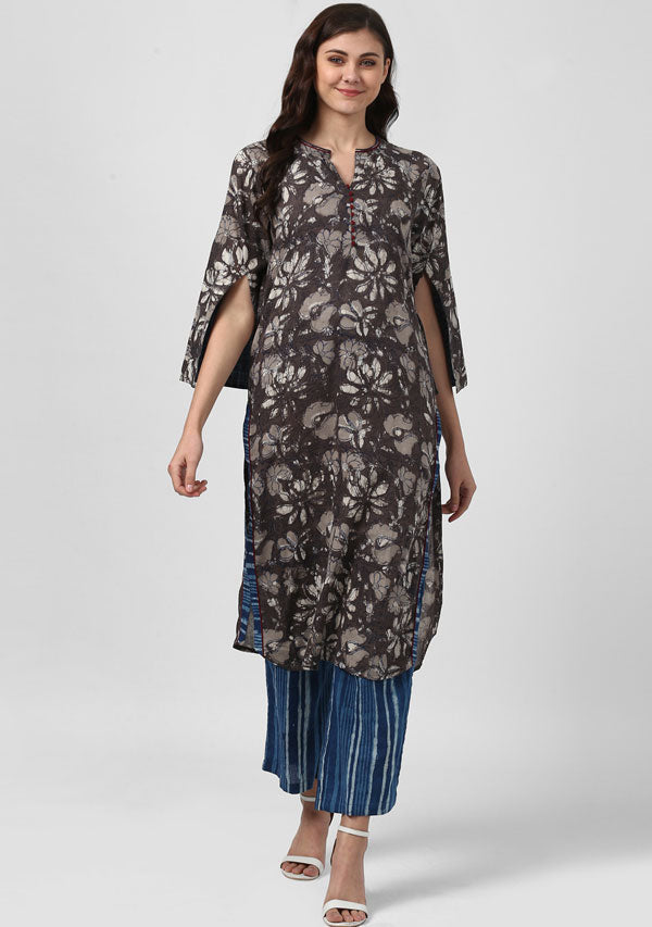 ADAA Brown Beige Floral Hand Block Printed Cotton Kurta with Striped Indigo Pants