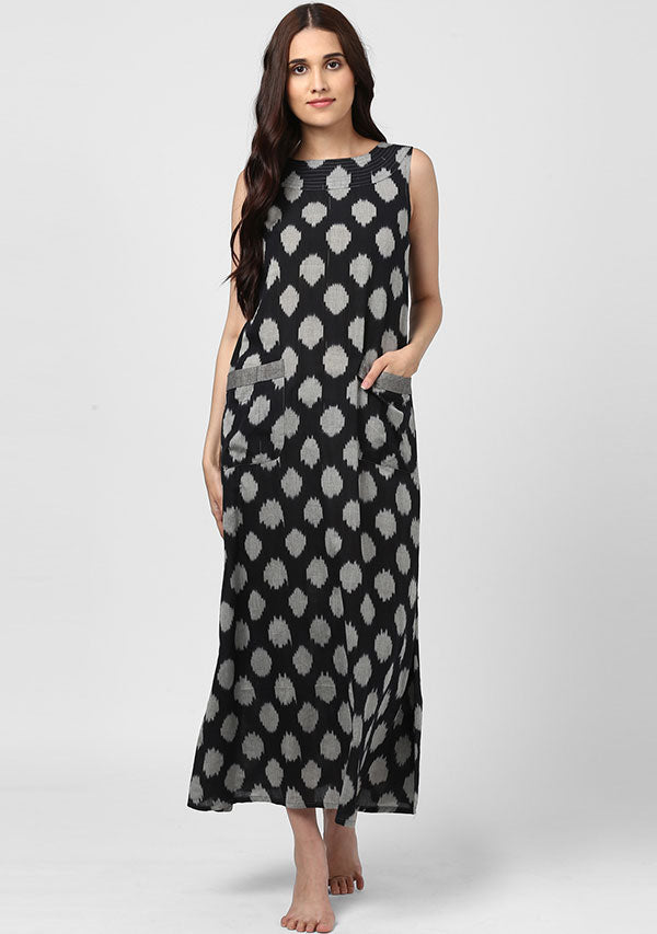 Black Grey Ikkat Sleeveless Long Dress with Pockets