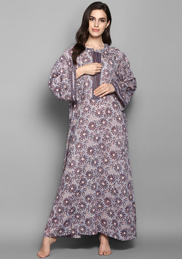 Grey Mauve Flower Motif Hand Block Printed Cotton Night Dress Long Sleeves and Zip Detail