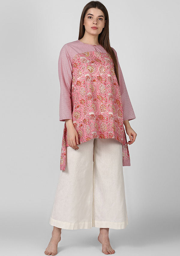 Pink Red Paisley Hand Block Printed Tunic with Yoke and High Low Detail