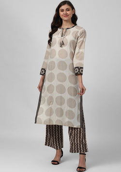 ADAA Ivory Beige Polka Dot Hand Block Printed Cotton Kurta with Pants