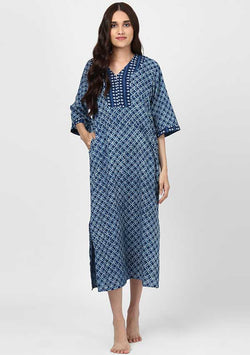 Indigo Ivory Hand Block Printed Cotton Hangout with Zip Detail