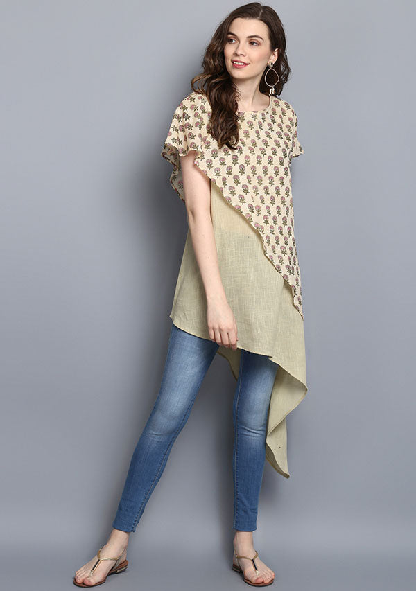 Yellow Pink Flower Hand Block Print Layered Asymmetric Cotton Tunic