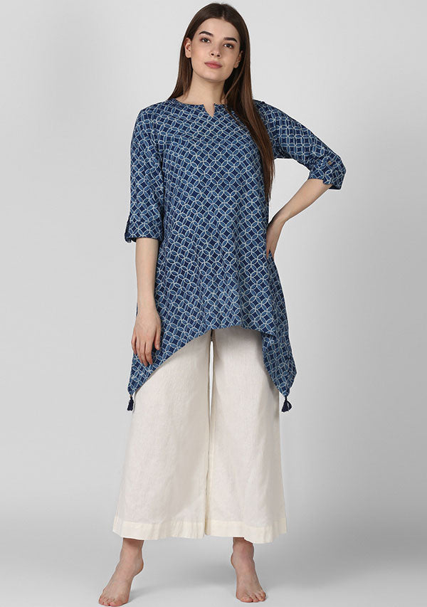 Indigo Hand Block Printed Asymmetric Tunic with Side Tails and Tassel Details