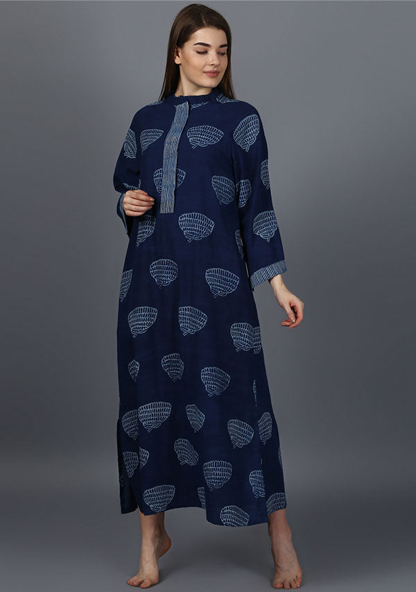 Indigo Ivory Marigold Motif Hand Block Printed Cotton Night Dress Long Sleeves and Zip Detail