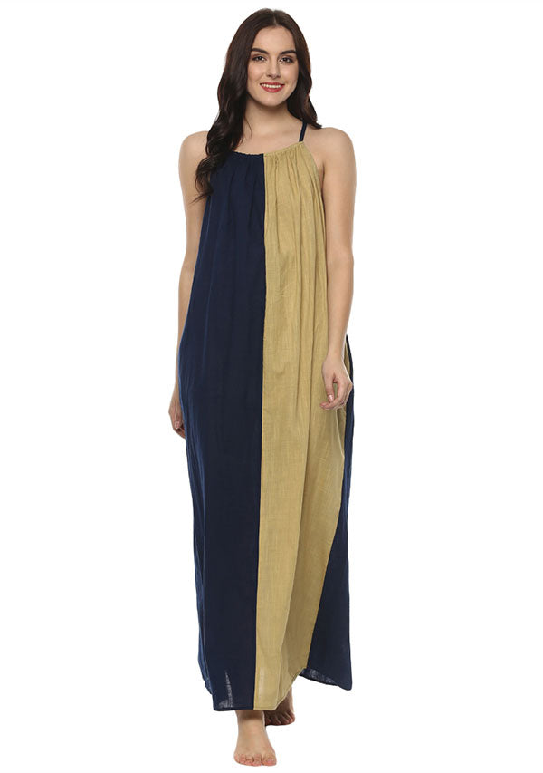 Beige Navy Blue Sleeveless Cotton Long Dress