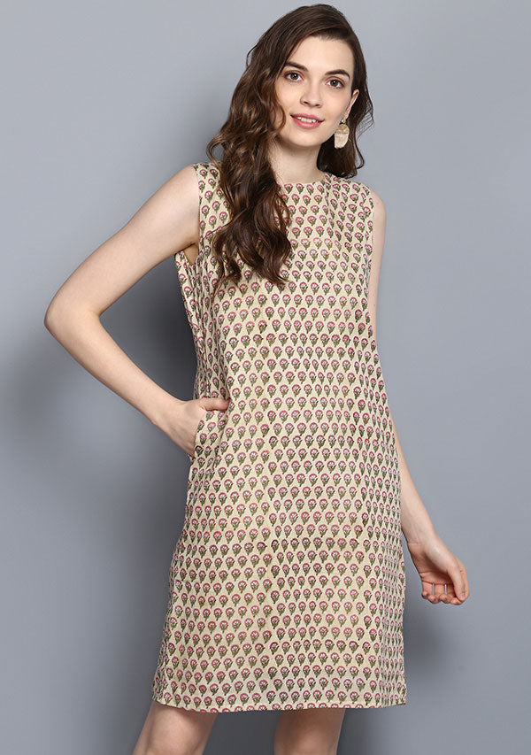 Soft Yellow Pink Flower Motif Hand Block Printed Short Sleeveless Cotton Dress