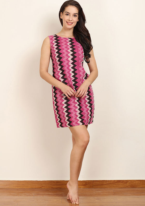 Pink White Chevron Hand Block Printed Sleeveless Short Cotton Dress with Zip Detail