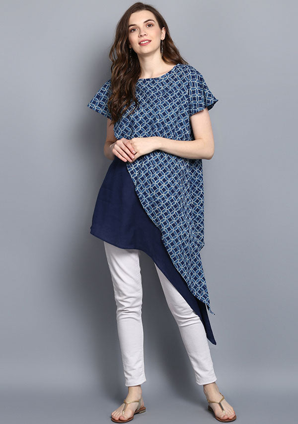 Indigo Hand Block Print Layered Asymmetric Cotton Tunic