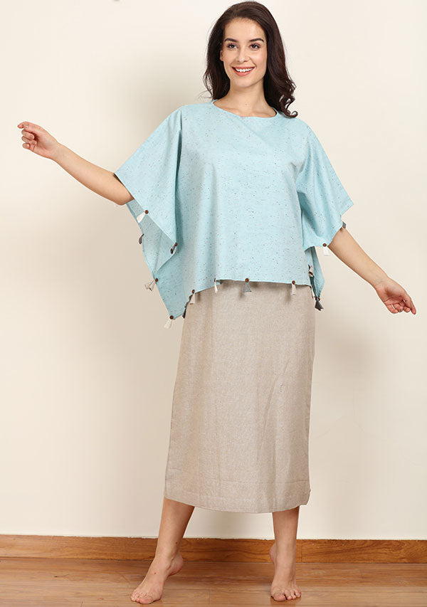 Blue Kaftan Crop Top paired with Beige Sleeveless Long Cotton Dress