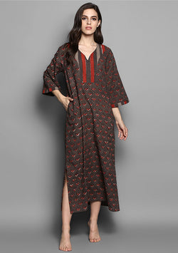 Brown Maroon Flower Motif Hand Block Printed Cotton Hangout with Zip Detail