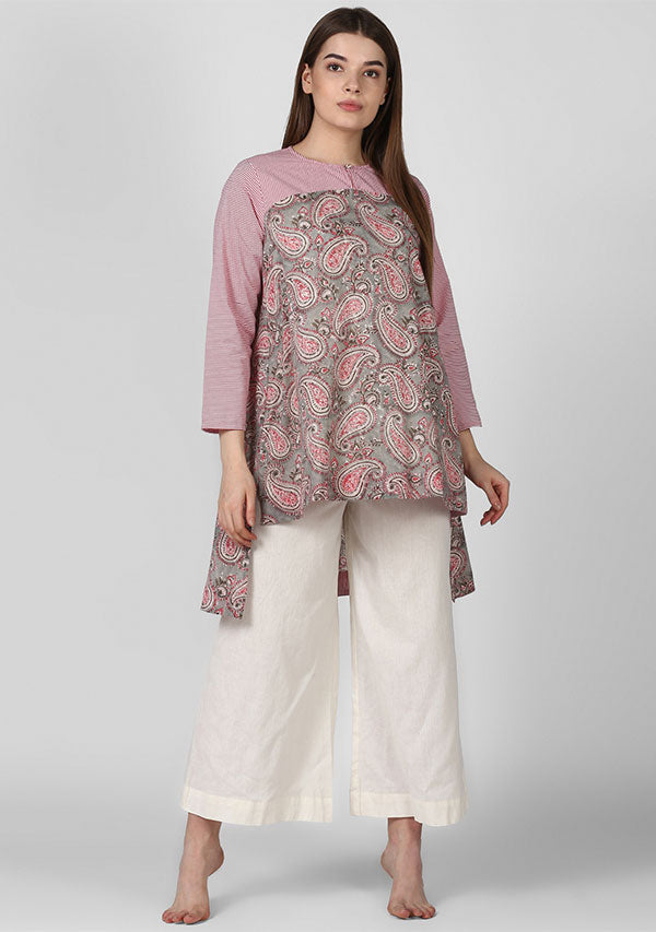 Grey Pink Paisley Hand Block Printed Cotton Tunic with Yoke and High Low Detail