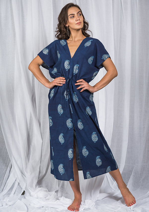 Indigo Silver Paisley Motif Long Dress with Deep Neckline and Tie-Up Waist