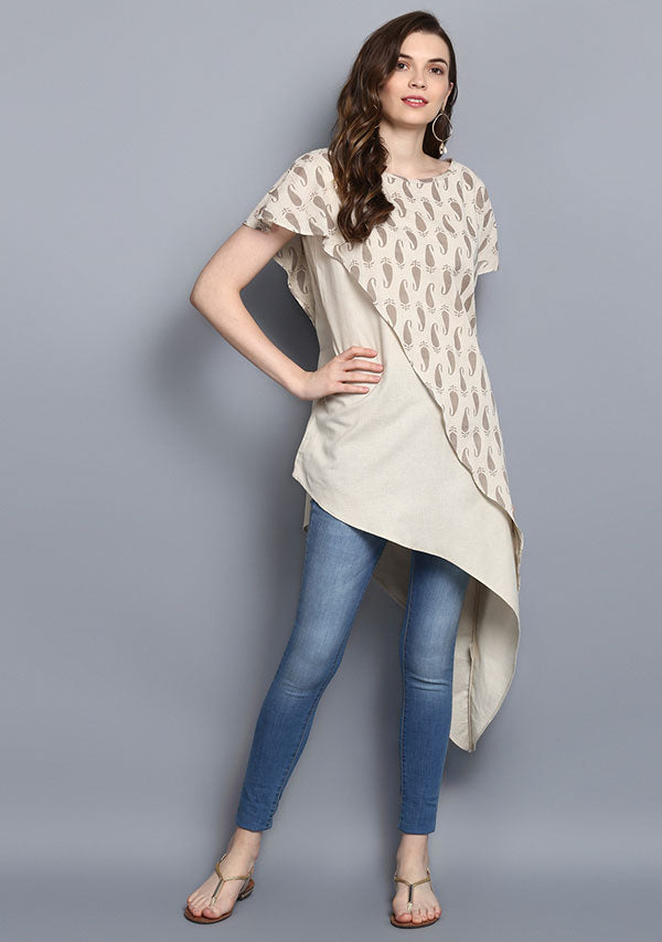 Beige Paisely Hand Block Print Layered Asymmetric Cotton Tunic