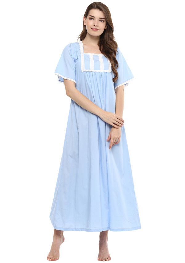 Blue Square Neck Short Sleeves Nighty with Lace Trimmings