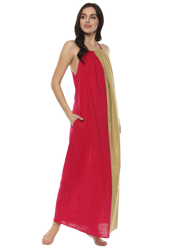 Beige Fuchsia Sleeveless Cotton Long Dress