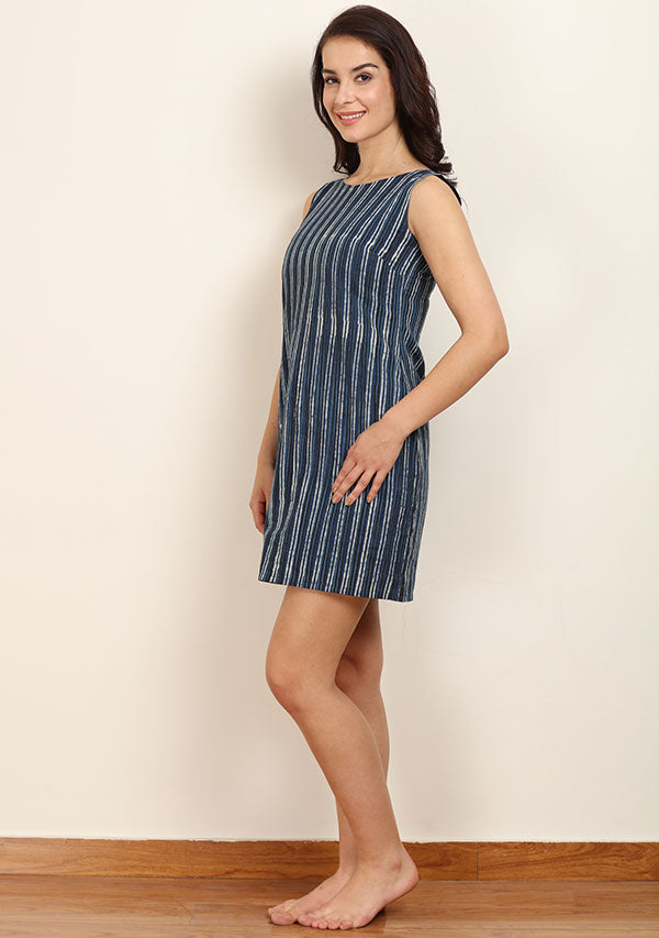 Indigo Striped Hand Block Printed Sleeveless Short Cotton Dress with Zip Detail