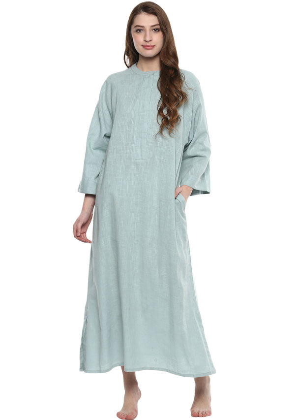 Aqua Cotton Night Dress With Long Sleeves and Zip Detail
