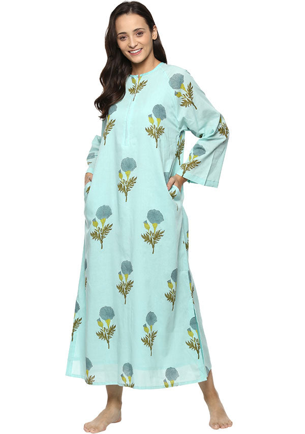 Aqua Blue Flower Motif Hand Block Printed Cotton Night Dress Long Sleeves and Zip Detail