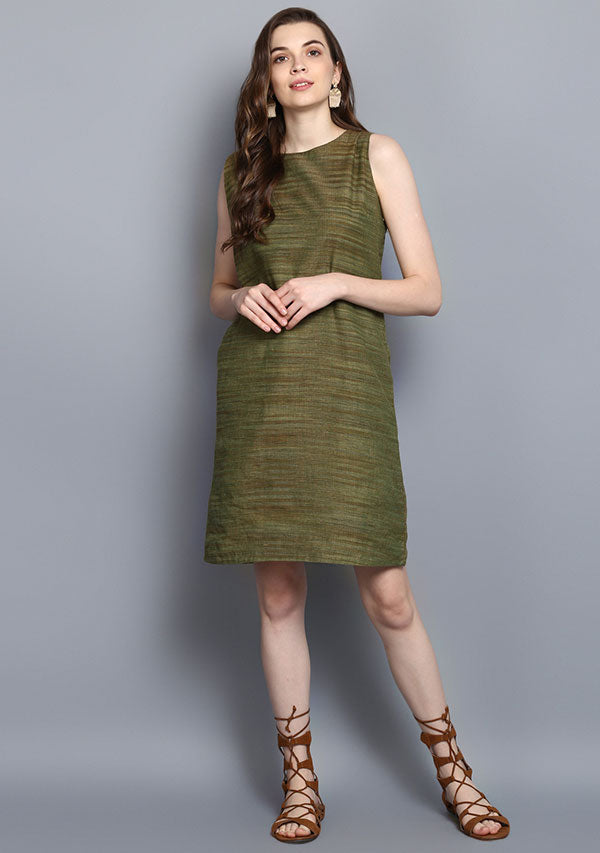 Olive Green Short Sleeveless Cotton Dress with Zip Detail