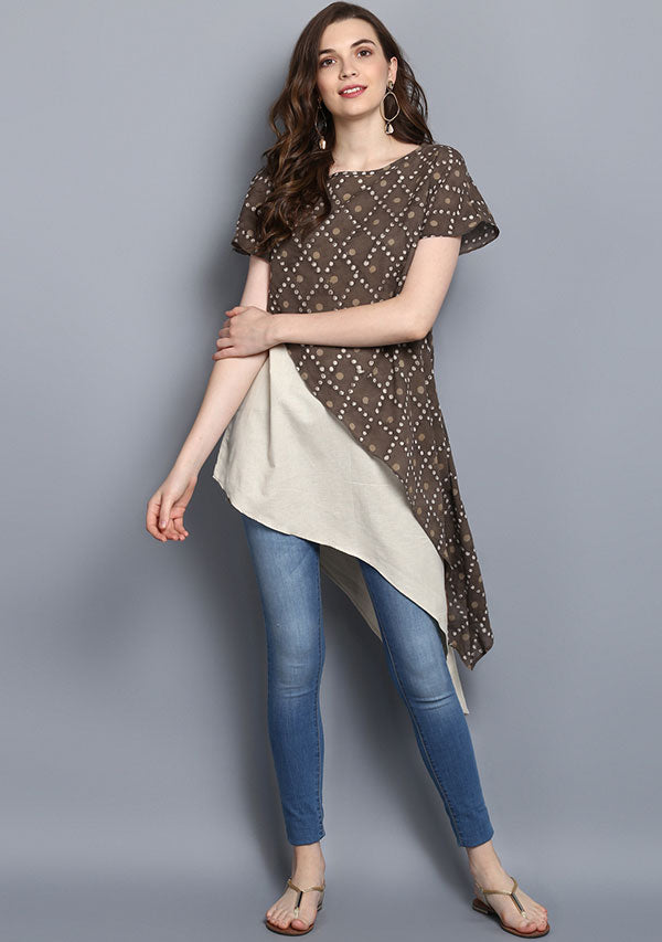 Beige Brown  Dotted Hand Block Printed Layered Asymmetric Cotton Tunic