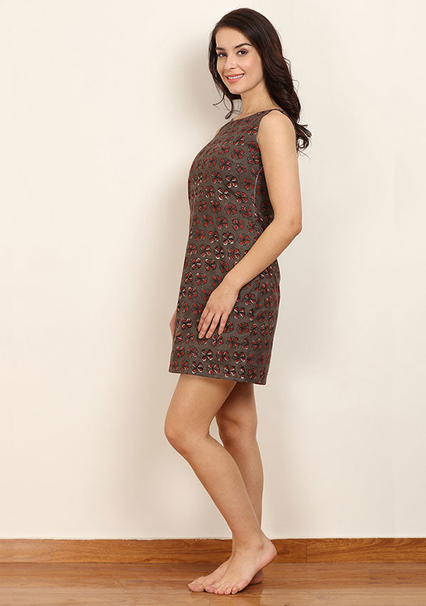 Brown Maroon Hand Block Printed Sleeveless Cotton Short Dress with Zip Detail