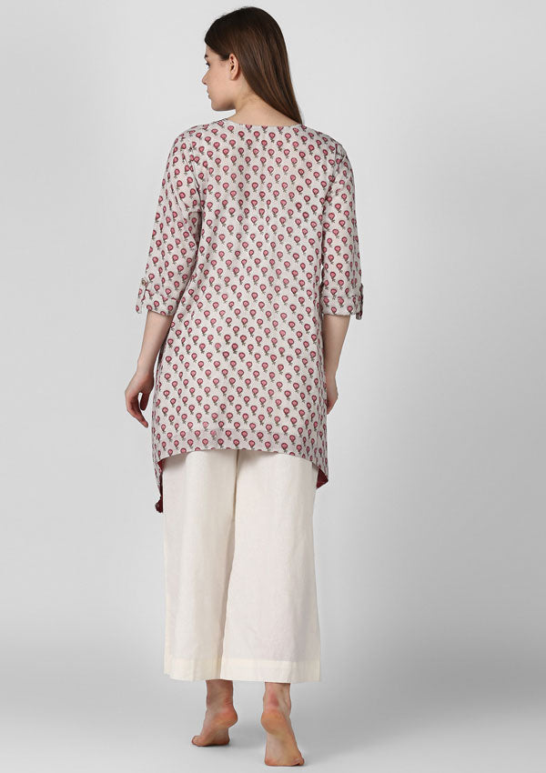 Grey Pink Hand Block Printed Asymmetric Tunic with Side Tails and Tassels