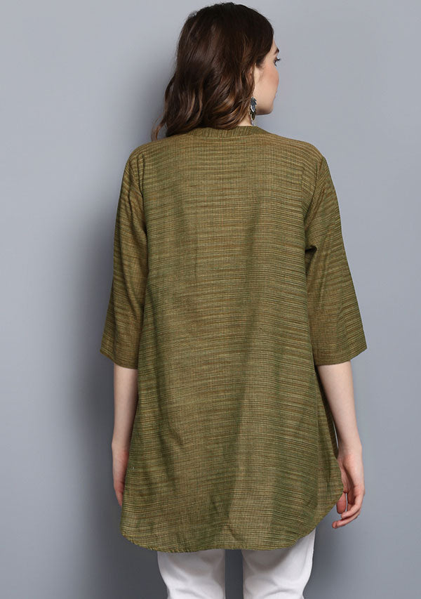 Olive Green Short Cotton Tunic With Pleats