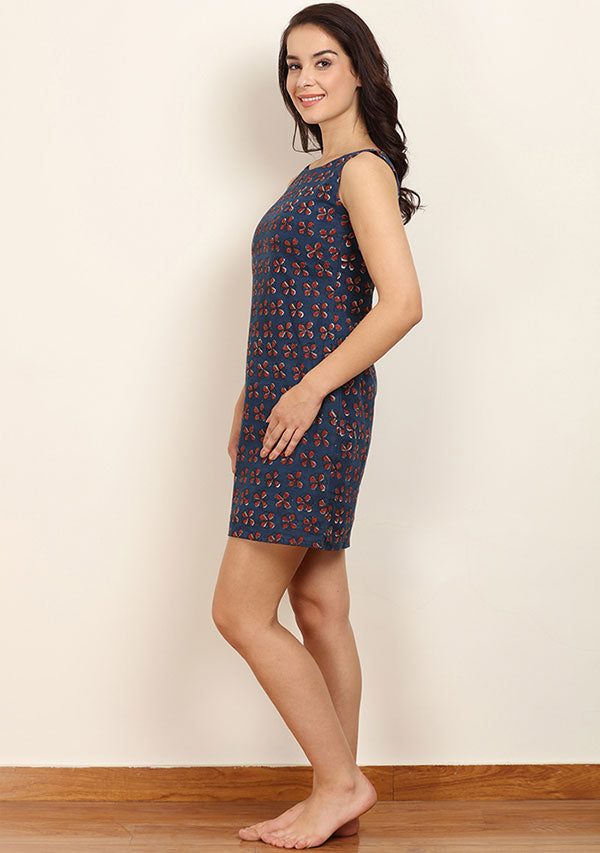 Indigo Maroon Hand Block Printed Sleeveless Short Cotton Dress with Zip Detail
