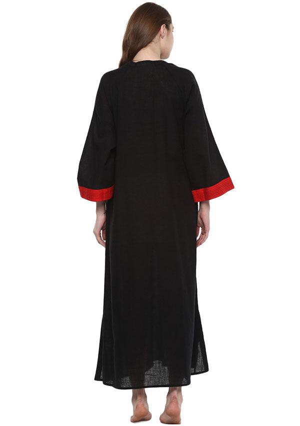 Black Red Bell Sleeves Cotton Night Dress Long Sleeves and Zip Detail