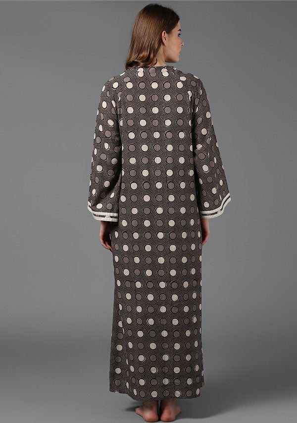 Beige Brown Hand Block Printed Cotton Night Dress with Long Sleeves and Zip Detail