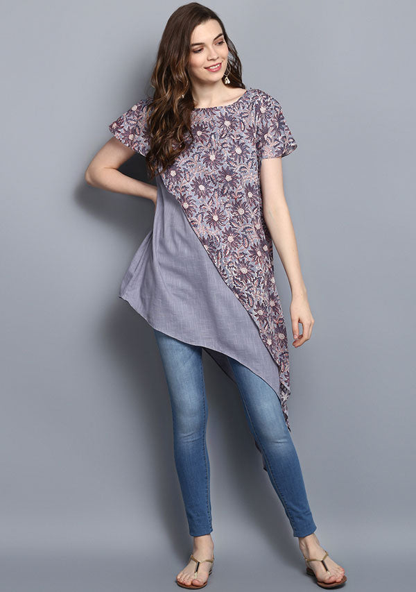 Grey and Red Flower Hand Block Print Layered Asymmetric Cotton Tunic