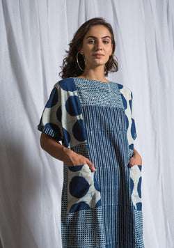 Indigo Ivory Block Dress in Polka Dots and Stripes with Diggin Pockets