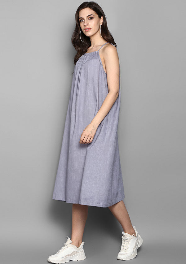 Grey Sleeveless Cotton Strap Dress