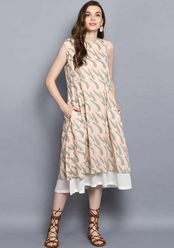 Peach Grey Feather Hand Block Printed Sleeveless Layered Cotton Dress