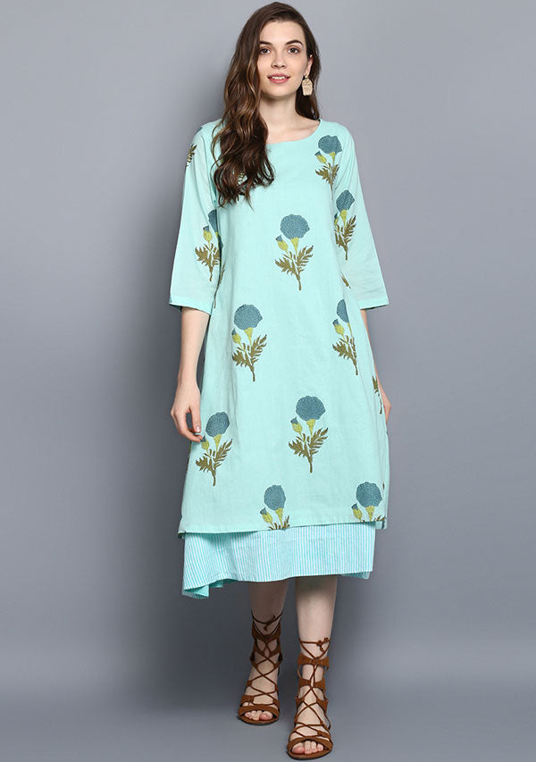 Turquoise Flower Motif Hand Block Printed Layered Cotton Dress with Sleeves