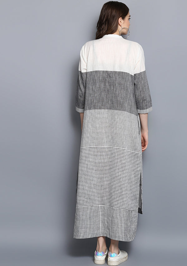 Grey White Striped Cotton Shirt Dress