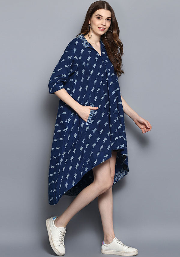 Indigo Flower Motif Hand Block Printed Printed Tail Cut Cotton Dress