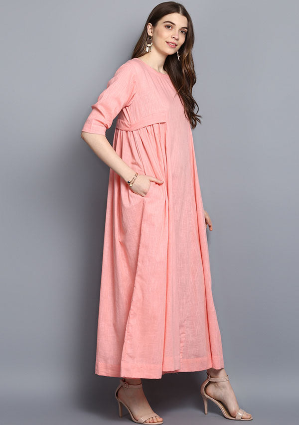 Baby Pink Cotton Dress with Side Gathers