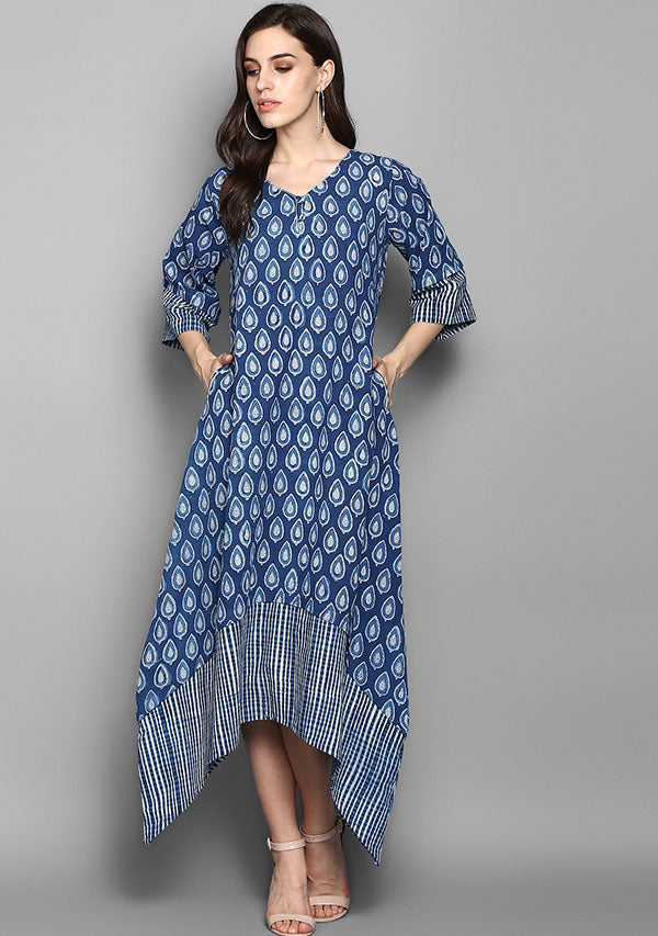 Indigo Ivory Droplet Motif Hand Block Printed Layered Side Tail Cotton Dress
