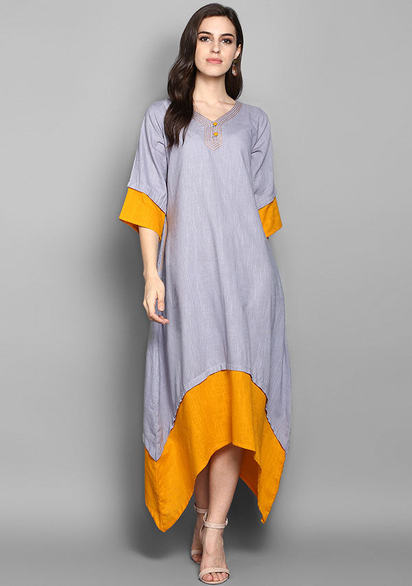 Grey and Mustard Layered Side Tail Cotton Dress