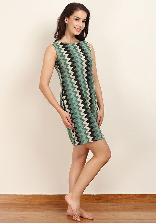 Green White Chevron Hand Block Printed Sleeveless Short Cotton Zip with Zip Detail