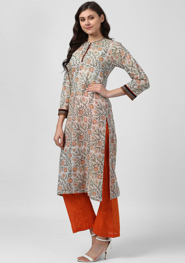 ADAA Ivory Orange Floral Hand Block Printed Cotton Kurta with Pants