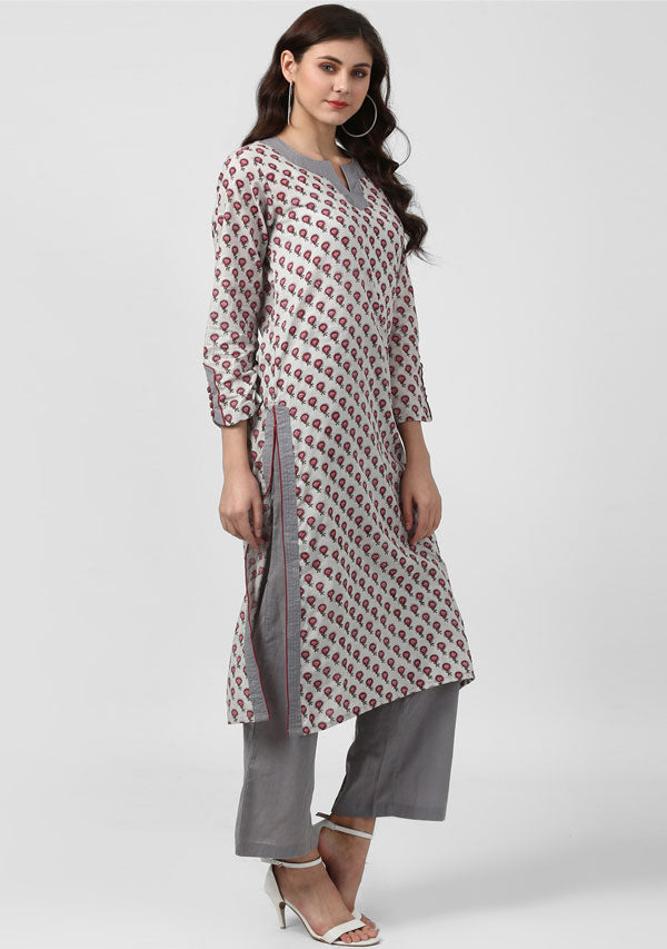 ADAA Grey Pink Flower Motif Hand Block Printed Cotton Kurta with Pants