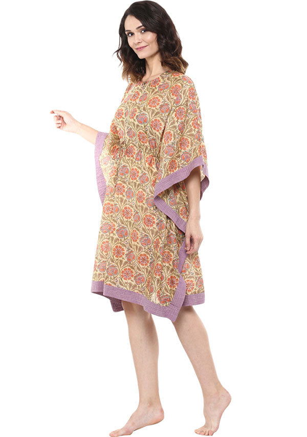 Yellow Mauve Chanderi Kaftan Dress